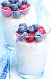 Yoghurt desserts with fruits Royalty Free Stock Image