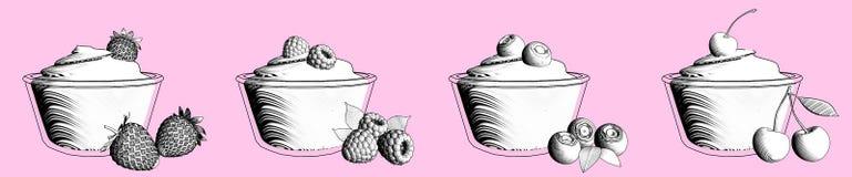 Yoghurt eller glass med bär visualization 3d stock illustrationer