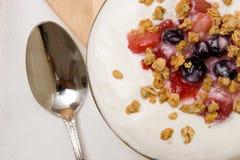 Yoghurt en granola Stock Foto