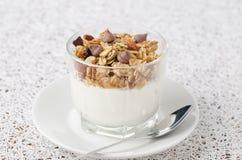 Yoghurt en granola met chocoladedalingen Stock Foto's