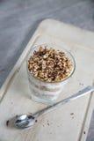 Yoghurt en haverwoestijn Royalty-vrije Stock Afbeelding