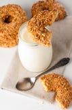 Yoghurt en nootkoekjes Royalty-vrije Stock Foto's