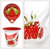 yoghurt för bakgrundsdesignemballage royaltyfri illustrationer