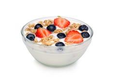 yoghurt för bunkefruktmysli arkivbilder