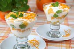 yoghurt för efterrättmintapelsiner Fotografering för Bildbyråer