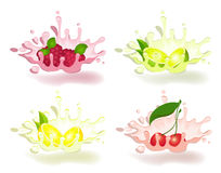 Yoghurt with fresh fruit. On a background for design Royalty Free Stock Photo