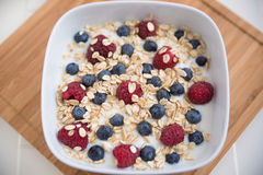 Yoghurt with fresh fruits. And oatmeal royalty free stock image