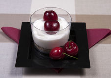 Yoghurt and fruit dessert. An individual yoghurt and fruit dessert Stock Photos