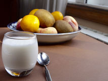 Yoghurt with fruit Stock Images