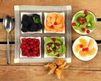Yoghurt and fruits Stock Photo