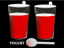 Yoghurt with glass and spoon, illustration Royalty Free Stock Images