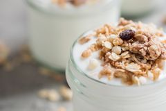 Yoghurt with granola made of oats, raisins, puffed rice, chocolate and dried bananas. Healthy breakfast for family. Stock Photography