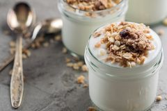 Yoghurt with granola made of oats, raisins, puffed rice, chocolate and dried bananas. Healthy breakfast for family. Stock Image