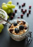 Yoghurt with grapes, muesli crumble and cranberries in jar. Yoghurt with grapes, muesli crumble and cranberries in preserving jar royalty free stock image