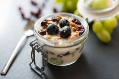 Yoghurt with grapes, muesli crumble and cranberries in jar. Yoghurt with grapes, muesli crumble and cranberries in preserving jar stock photos