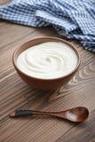 Yoghurt i bunke arkivbild