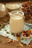 Yoghurt i en glass krus royaltyfri foto