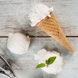 Yoghurt ice cream cone Stock Photo