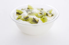 Yoghurt with kiwi Stock Photos