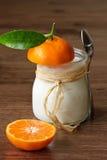 Yoghurt with a mandarine. Homemade yoghurt with a mandarine for a breakfast stock photo