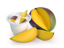 Yoghurt with mango Royalty Free Stock Images