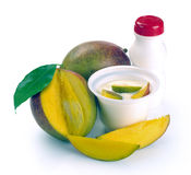 Yoghurt with mango and pieces Royalty Free Stock Images