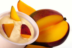 Yoghurt with mango Stock Photos