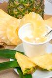 Yoghurt med ananas arkivbilder