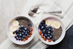 Yoghurt med bär, banan, mandlar och Chia frö, bunke av den sunda frukosten varje morgon, tappningstil, superfood och detox Royaltyfria Bilder