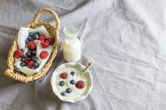 Yoghurt med b?r royaltyfri foto