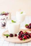 yoghurt med blandade bär royaltyfri foto