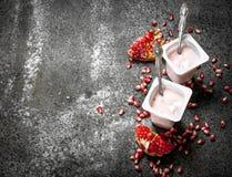 Yoghurt med den nya granatäpplet fotografering för bildbyråer
