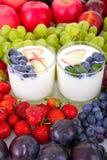Yoghurt med frukt royaltyfri bild