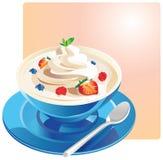 Yoghurt med frukt i en blå bunke vektor illustrationer