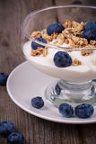 Yoghurt med granola och blåbär. fotografering för bildbyråer