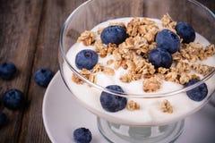 Yoghurt med granola och blåbär. royaltyfria bilder