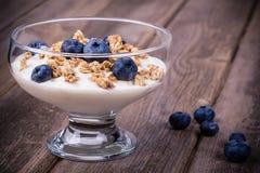 Yoghurt med granola och blåbär. arkivbilder