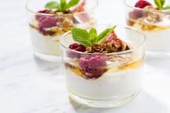 Yoghurt med honung och nya fikonträd som är horisontal royaltyfria bilder