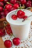 Yoghurt med körsbär arkivfoton