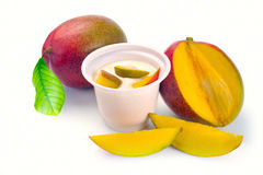 Yoghurt med mango arkivbild