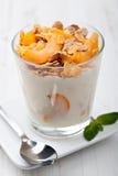 Yoghurt med mysli arkivfoton