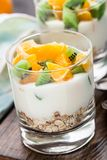 Yoghurt med mysli och frukter Arkivbild