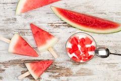 Yoghurt med stycken av vattenmelon royaltyfri bild