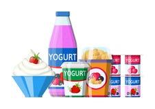 Yoghurt of melkachtige dessertreeks stock illustratie