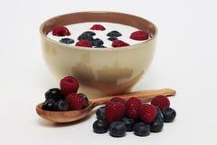 Yoghurt met bessen stock afbeelding