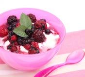 Yoghurt met bessen Royalty-vrije Stock Afbeeldingen