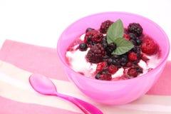 Yoghurt met bessen Stock Foto's