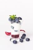 Yoghurt met bosbes, jam en munt Stock Foto
