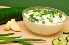 Yoghurt met komkommer Stock Foto