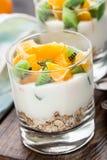 Yoghurt met muesli en vruchten Stock Fotografie